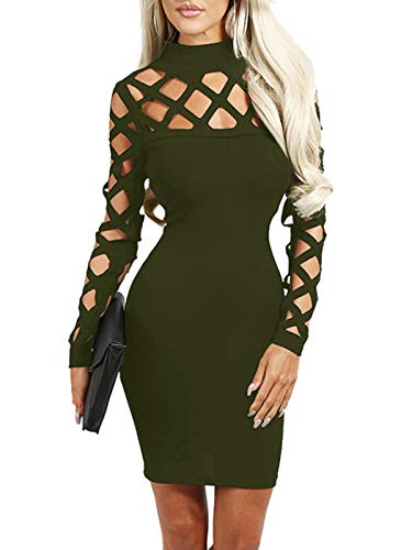 YOINS Damen Elegant Kleider Party Sexy Abendkleider Langarm Mode Knielang Kleider A-grün M