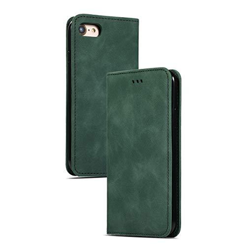 EUDTH Handyhülle iPhone 8/iPhone 7, Case Hülle PU Leder Tasche Flip Cover mit Standfunktion Magnetverschluss Handy Schutzhülle für iPhone 8/iPhone 7 - Grün