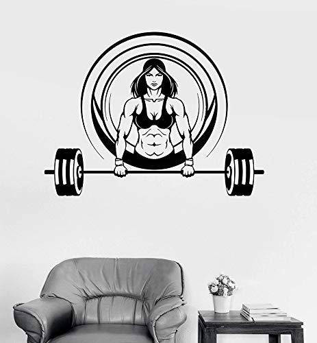 Fitness músculo fuerte mancuerna Fitness vinilo pared pegatina pared motivacional pared calcomanía letras