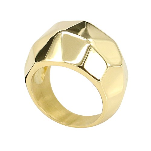 Civetman Anillo de Acero Titanio para Hombre Anillo de Oro M
