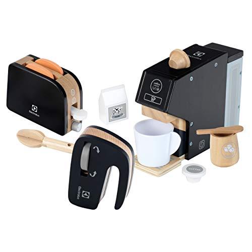 Theo Klein- Set Electrolux de Madera I Juego Compuesto por cafetera, batidora y tostadora I Accesorios para cocinas I Juguete para niños a Partir de 3 años (7404)