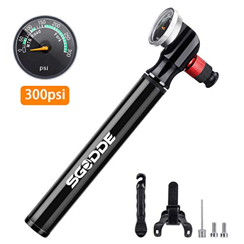 SGODDE Mini Fahrradpumpe mit Druckanzeige, 300 PSI Fahrradluftpumpe, 2 in 1 Ventil Hohe Druck Fahrrad Rahmen Pumpe mit Presta&Schrader, tragbar kompakt schnell für MTB Rennrad Mountainbike Ballpumpe