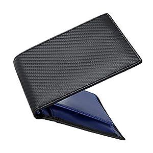 ふたつおり財布 メンズ 薄型 コンパクト 軽量 本革 メンズ 財布 二つ折り ボックス型小銭入れ 大容量 薄い財布 メンズRFIDスキミング防止 収納箱付き プレゼント用にも最適(カーボンレザー・全3色)