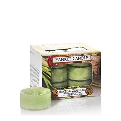 Yankee Candle La Hierba de limón y Jengibre Velas de Té Aromáticas Paquete de 12 Unidades, Verde, 8.6x8.2x5.8 cm