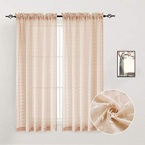 Guken Peachpuff Pink Sheers Textured Curtains Window Treatment Drapes for Living Room Rod Pocket Elegance Voile Curtain Set Pompom Solid Voile Sheers 2 Panels 72 inches Long