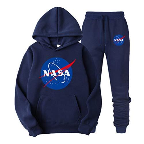 Ketamyy Uomo Donna Felpe con Cappuccio Invernali Velluto Fodera Casual Pullover Grande NASA Logo Space Rocket Moon Astronaut Hoodie Manica Lunga con Tasca Larghe Moda Top