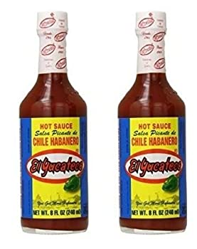 El Yucateco Chile Habanero Hot Sauce Bottle Red 8 Ounce  Pack of 2