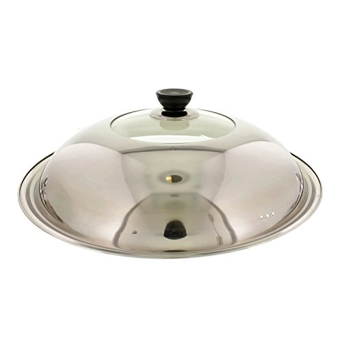 Cheftor Stainless Steel and Heat Resistant Glass Stir Fry Lid Cover for 16' Wok Pan and for 14.5' Classic Fry pan