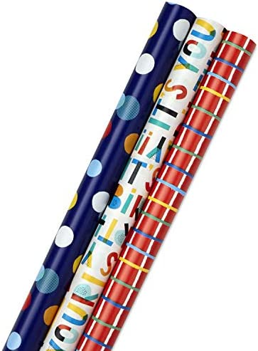 Hallmark Birthday Wrapping Paper Bundle with Cut Lines on Reverse 3 Pack 55 sq ft ttl Bright product image