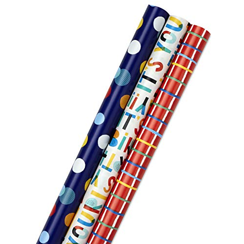 Hallmark Birthday Wrapping Paper Bundle with Cut Lines on Reverse (3-Pack: 55 sq. ft. ttl.) Bright and Holographic Prints and Patterns in Red, Blue, Yellow, White and More