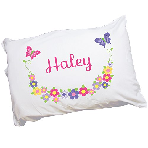 My Bambino Childs Personalized Butterfly Garland Bright Pillowcase
