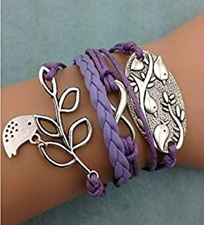 NEW Purple Infinity Birds Tree leaf Leather Charm Bracelet plated Silver DIY