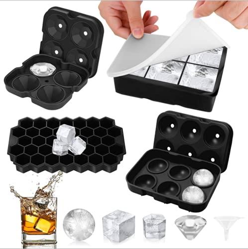 Eiswürfelform Kugel Silikon mit Deckel, Groß Rund Diamant Wabenform Ice Cube Tray, 6+6+4+37 Fach 4er Pack, Dicht Auslaufsicher BPA Frei Eiswürfelformen für Bier Whisky Cocktail (Schwarz)