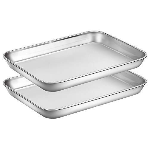 Wildone Baking Sheet Set of 2 - Stainless Steel Cookie Sheet Baking Pan, Size 9 x 7 x 1 inch, Non Toxic & Heavy Duty & Mirror Finish & Rust Free & Easy Clean
