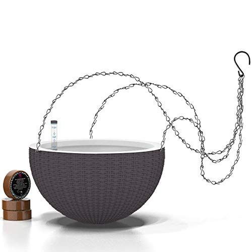 11'' Self Watering Hanging planters for Indoor Plants - Flower Pot with Water Level Indicator for Plants, Hanging pots - Self Watering Planter Plant Pot- Coco Coir - Round 1 Pack - Gray