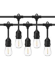 Salcar Led-lichtsnoer voor buiten, 15 m, 15 x E27-leds, IP65, waterdicht, decoratieve lamp voor huisdecoratie, feest, bruiloft, barbecue, Kerstmis