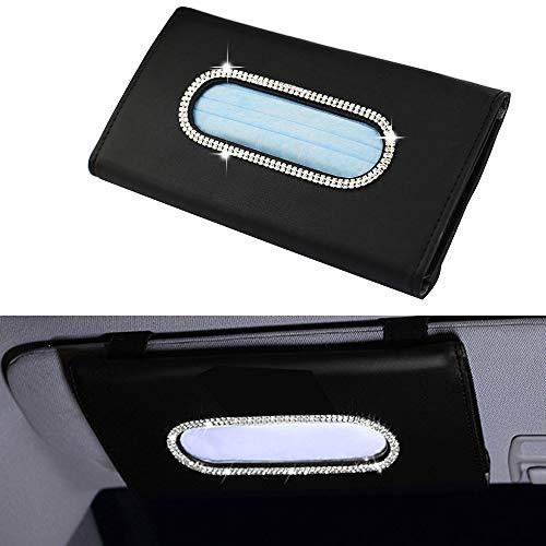 Yijueled Mask Holder for Car Sun Visor Tissue Holder Bling Car Tissue Box Holder Leather Crystals Vehicle Tissue Case Holder Tissue Dispenser Car Napkin Holder