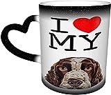 Amo a mi perro Springer Spaniel inglés Taza mágica sensible al calor que cambia de color en el cielo Tazas de café artísticas divertidas Regalos personalizados para amantes de la familia Ami