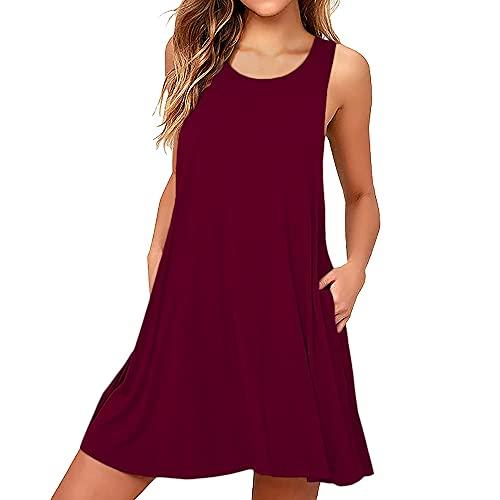 Coloody Vestido Casual de Verano Cuello Redondo Corto para Mujer Vestido sin Mangas con Bolsillos Vestido Suelto,sin Mangas,Falda del Tanque Falda Acampanada-Vino Tinto-S