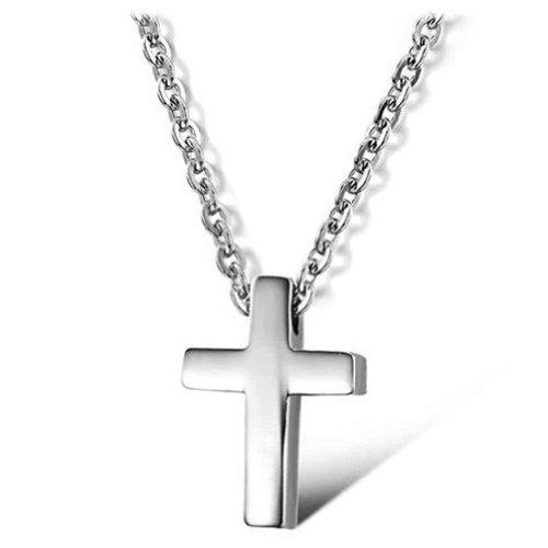 ANAZOZ sieraden roestvrij staal dames mode hanger halsketting simpel kruis wit lengte 41cm