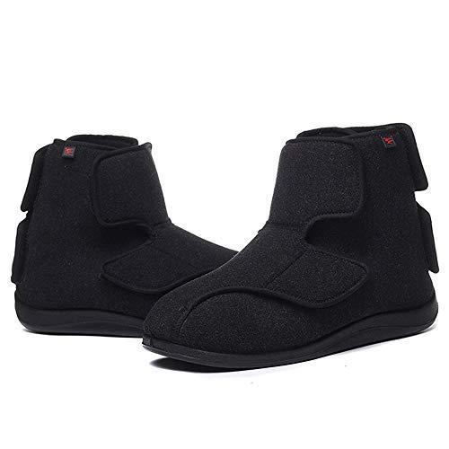 Juan - Zapatillas diabéticas hinchadas con pies hinchados ajustables para hombre y mujer, zapatos para caminar con pies hinchados, color negro, 41