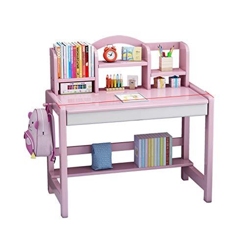 Escritorio para niños, mesa grande de madera para estudiantes con cajones, estanterías para libros, muebles de madera para dormitorio infantil para estudio de estudiantes, escritura, juegos, estació