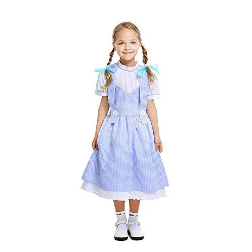 CGBF - Disfraz de Dorothy para niñas de cuento de hadas tradicional, disfraz clásico, disfraz de Halloween, vestido de espectáculo, azul, 130 ~ 140