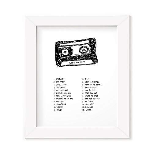 Póster enmarcado de Twenty One Pilots, diseño de letra de canción de banda grabada, impresión original de cassette de Mixtape