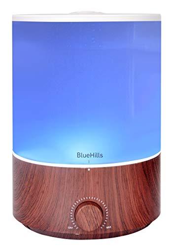 BlueHills Premium 4000 ml XL Essential Oil Diffuser 4L 4 Liter 70 hour run Humidifier Aromatherapy 1 Gallon Big Capacity High Mist Output for Large Room Home Mood Lights Dark Wood Grain E402