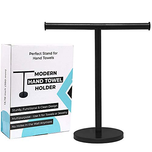 "Debodda Modern Hand Towel Stand for Bathroom, Kitchen or Vanity, Height 13.78"", Free Standing Matte Black Countertop Rack with Balanced Base, Perfect Hand Towel Holder, Dual Washcloth Display"