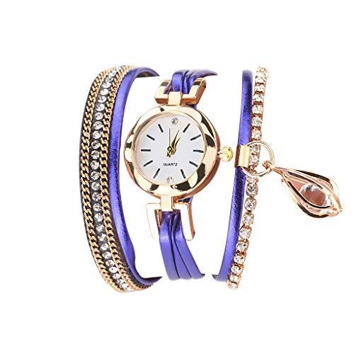 Fenverk Damen Schöne Mode Design Strass Armband,Armbanduhr Damen Mode Frauen Mädchen Analog Quarz Eule Anhänger Damen Kleid Armband Uhr Armbanduhr Armband Uhr Uhren(C#02)