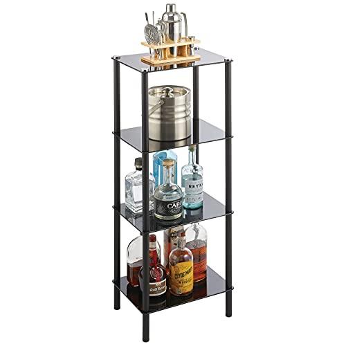 mDesign Estante de pie con 4 baldas – Estante de metal y cristal de diseño moderno – Compacta estantería decorativa para baño, despacho, dormitorio o salón – negro
