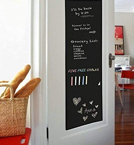 Hcbyae Wall Decal,Chalkboard Wall Sticker, DIY Vinyl Chalkboard Removable Blackboard Wall Sticker Decal PVC Wall Decal Self Adhesive DIY Reusable Erasable for Kids Home Office