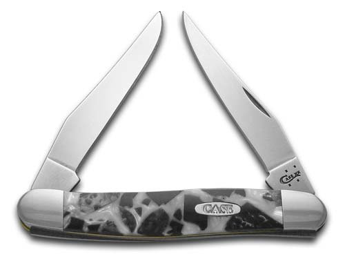 CASE XX Chipped White Pearl and Black Pearl Corelon Muskrat Stainless Pocket Knife Knives