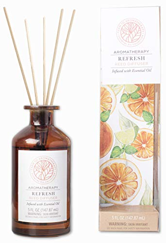 Farm to Aromatherapy Reed Diffuser, Refresh: Clean & Pure, Long Lasting, Stress Relief, Promotes Wellness & Positivity, Energizing with Therapuetic Qualities, 5.0 Fl Oz.