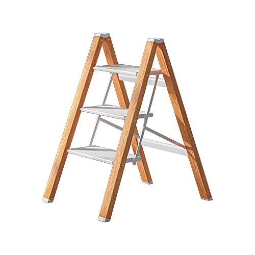 3 Steps Ladder Anti-Slip Foldable White Aluminum...