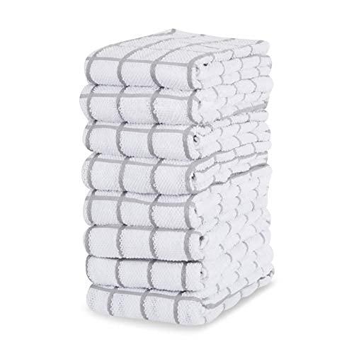 Amazon Brand - Eono Paños de Cocina de Rizo de algodón - 100% Muy absorbentes - Ideales para secar Cristales en restaurantes, Bares y cocinas - 40 x 64 cm - Juego de 8 - Gris Capuchino