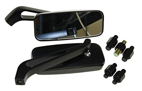 Motorradspiegel Set (2 Stück) Classic schwarz Alu CNC universal M8 M10 passt z.B. bei Adly Herchee AGM Aprilia Beeline Benelli CPI Derbi Ducati Gilera Hercules Honda Puch