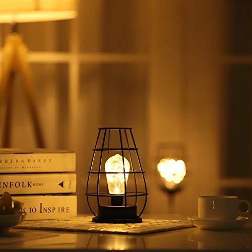 Dewanxin Lámpara de Mesa,Lámparas de mesita de Noche de Estilo Retro,Lámparas con Pilas,Lámpara de Bombilla con Pantalla de Hierro,para Sala de Estar Dormitorio Cafetería Tienda Hotel Navidad