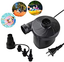 Electric Air Pump - Air Mattress Pump for Inflatable Couch, Bed, Blow up Pool Float Raft Boat Toy, Camping Swimming, Portable Quick-Fill Inflator/Deflator Pumps with 4 Nozzles , AC 110-120 Volt Black