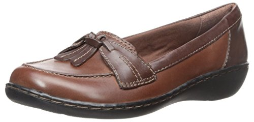 Clarks Women's Ashland Bubble Slip-On Loafer, Brown/Black, 8 M US