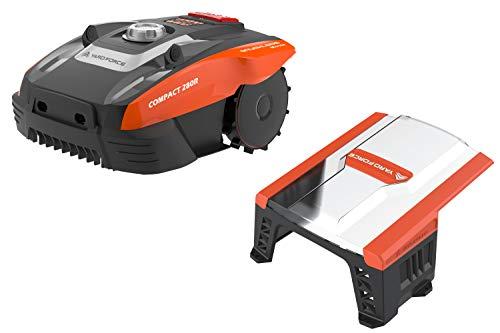 Yard Force Mähroboter COMPACT 280R, geeignet für Rasenflächen bis zu 300 qm-mit iRadar Ultraschallsensor, mit Garage