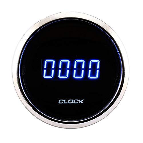 """MOTOR METER RACING Digital Clock Gauge 2"""" Blue LED Display Dimmer Waterproof Pin-Style Install Black Dial"""