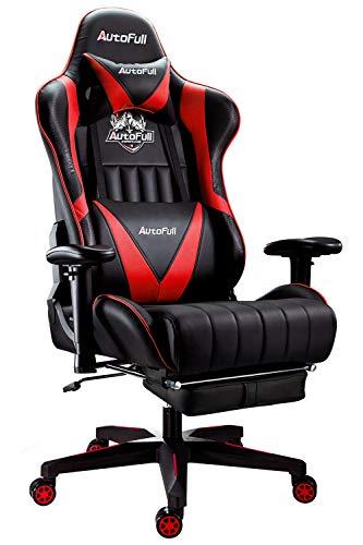 AutoFull Gaming Stuhl Schreibtischstuhl Gamer Ergonomischer PU-Leder Bürostuhl,Einstellbare Sitzhöhe und Rückenlehnenneigung,Pc Stuhl mit Lendenwirbelstütze und Fußstütze,Rot(DREI Jahre Garantie)