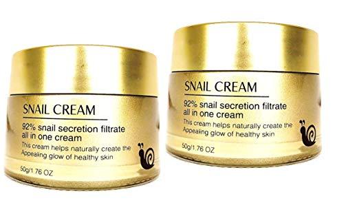 Crème Visage à la bave d'escargot 92% Crème visage Anti-âge, Antirides, Anti acné, Hydratante, Régénératrice. Crème d'Escargot Anti-rides. Crème Bave d'Escargot. Lot de 2 X 50g