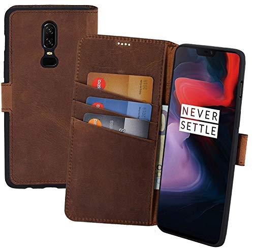 Suncase Book-Style kompatibel für OnePlus 6 Hülle (Slim-Fit) Leder Tasche Handytasche Schutzhülle Hülle (mit Standfunktion & Kartenfach - Bruchfester Innenschale) in antik Coffee