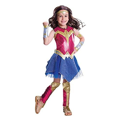 Yokbeer Disfraz Oficial de La Liga de La Justicia de DC Comics, Wonder Woman, Disfraz para Niño (Color : Red, Size : Large(130-145cm))