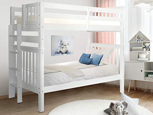 Bedz King Tall Bunk Beds Twin over Twin Mission Style with End Ladder, White