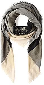 Coach Windowpane Black Oversized Ladies Scarf 54230