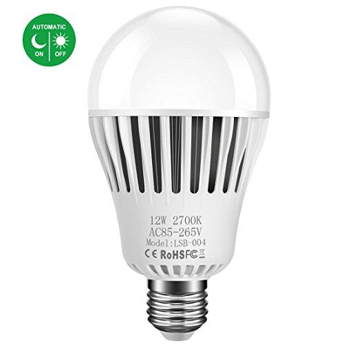 LED Dusk-to-Dawn A25 Light Bulb, 12W Warm White 2700K 1200 Lumen E26 LED Sensor Bulb(Auto...